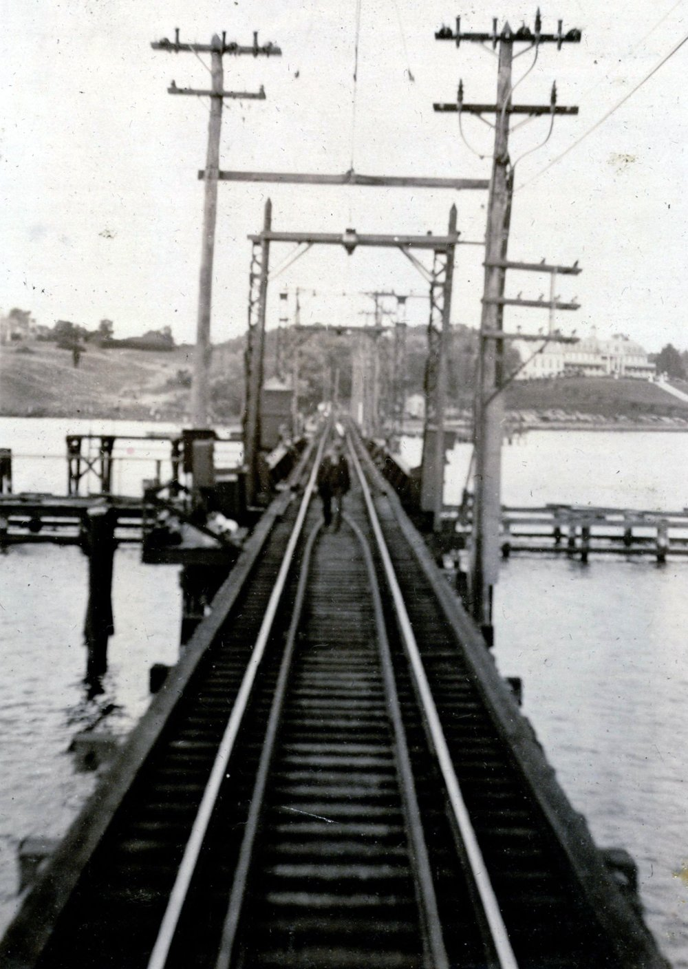 The Severn River Bridge. Looking towards the North Shore, Manresa can be seen to the right. Annapolis, Maryland. Circa 1935. Source: John W. Barriger III National Railroad Library.
