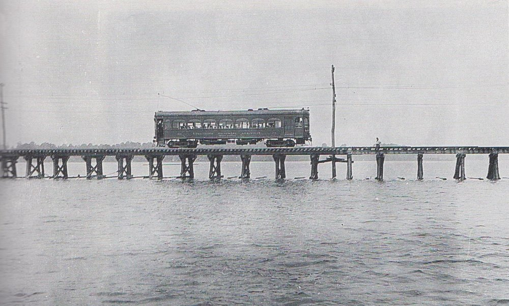 "Washington, Baltimore & Annapolis Car passing over the Severn River Bridge. Annapolis, Maryland Date: 1924. Source: John E. Merriken Collection from ""Every Hour On The Hour"" by John E. Merriken."