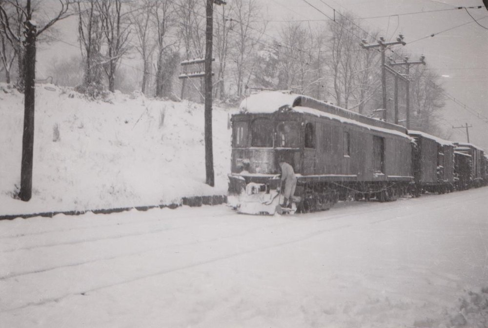 Baltimore & Annapolis Railroad Car in the snow. Date: Unknown. Source: Hugh Hayes Collection.