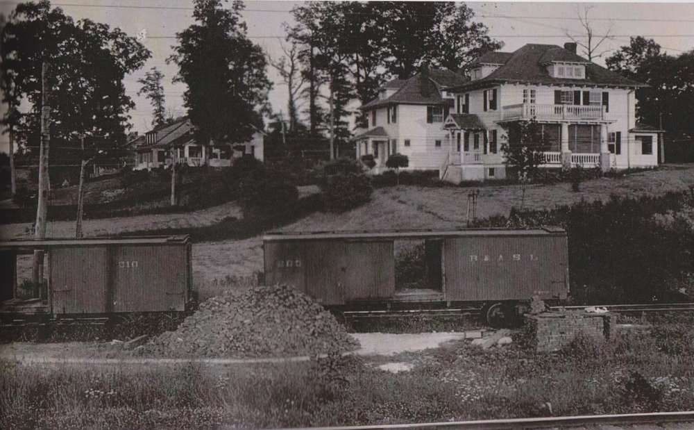 "Baltimore & Annapolis Railroad Cars pass through Linthicum. Linthicum, Maryland Date: Unknown. Source: Howard Kuehn Collection from ""The Train Passes Through It"" by Oscar ""Skip"" Booth and Beth P. Nowell."