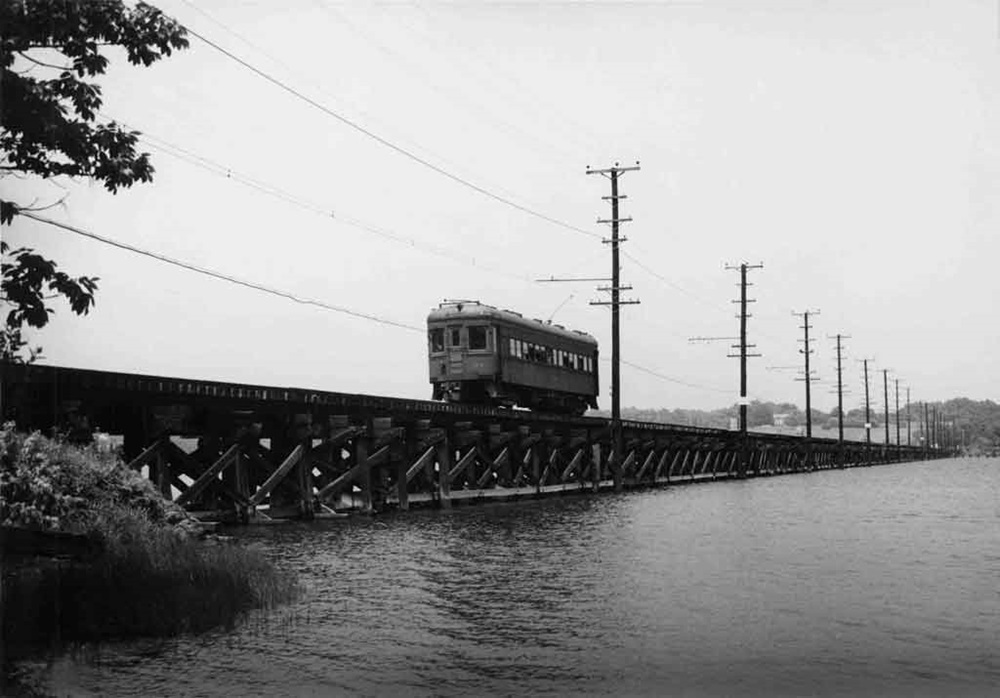 Baltimore & Annapolis Railroad Car crosses the Severn River Bridge heading South towards Annapolis. Annapolis, Maryland Date: June 1948. Source: William D. Middleton Photo.
