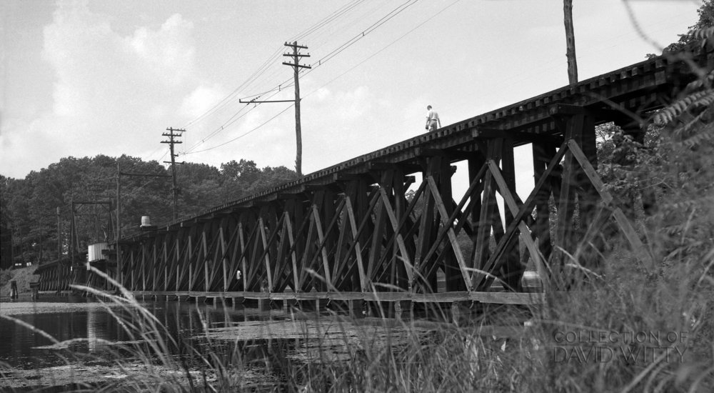 The Baltimore & Annapolis Railroad Trestle over College Creek. This bridge is right outside Bladen Street Station. Date: September 1949. Source: David Witty Collection.
