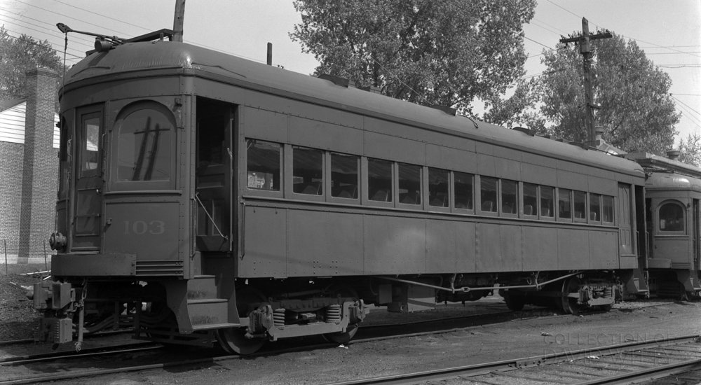 Baltimore & Annapolis Railroad Car #103 sits on a siding at the Balden Street Station ahead of Car #97. Date: May 25, 1942. Source: David Witty Collection.