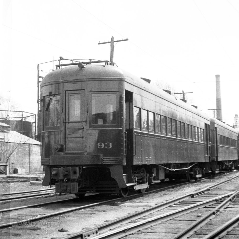 Baltimore & Annapolis Railroad Car #93 at Bladen Street Station. Date: July 1940.  Source: David Witty Collection.