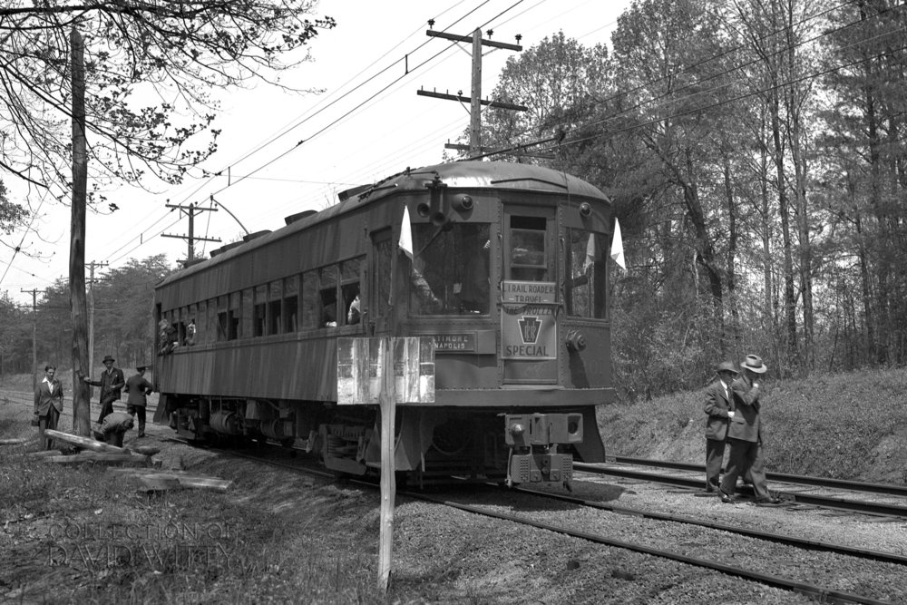 The Long Island Railroaders Travel the Trolley Special is running southbound on the Baltimore & Annapolis Railroad Car #201. The special is paused near Glen Burnie for pictures. Date: May 25, 1942. Source: David Witty Collection.