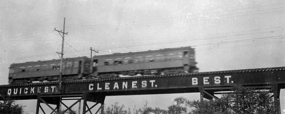 Baltimore & Annapolis Railroad car heads out of Baltimore on the WB&A's viaduct that was to the east of the B&O's main line in south Baltimore. Date: 1935. Source: David Witty Collection.