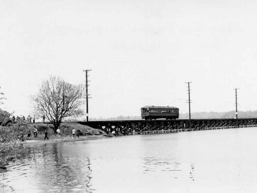 Baltimore & Annapolis Railroad Car #205 crossing the Severn River Bridge. Annapolis, Maryland Date: May 11, 1947. Source: Unknown.