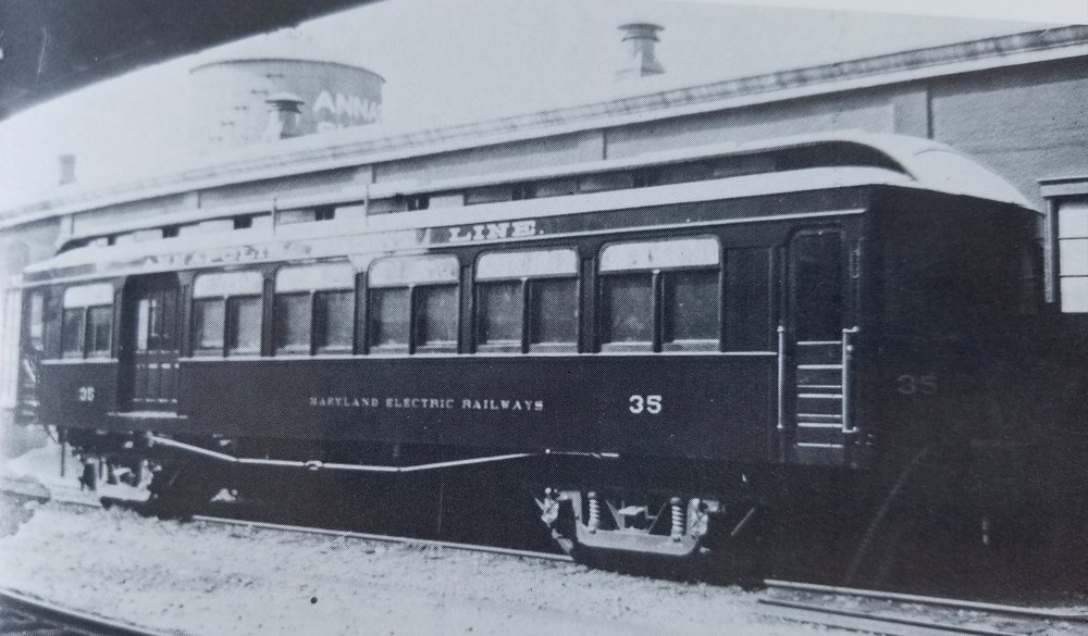 Annapolis Short Line Car #35 at Bladen Street Station. Annapolis, Maryland Date: July 23, 1908. Source: LeRoy O. King Sr. Photograph.