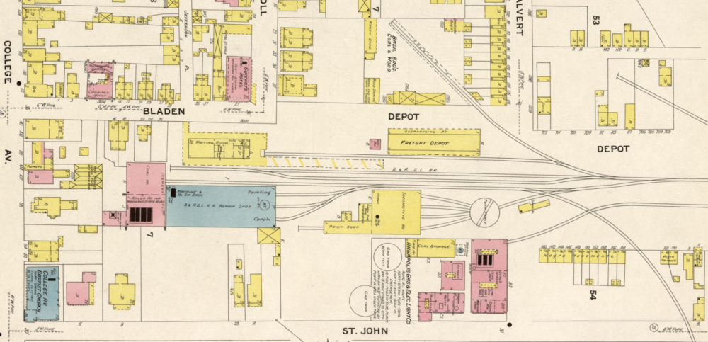 Baltimore & Annapolis Railroad, Bladen Street Station.  Annapolis, Maryland Date: 1908. Source: Sanborn Fire Insurance Maps.
