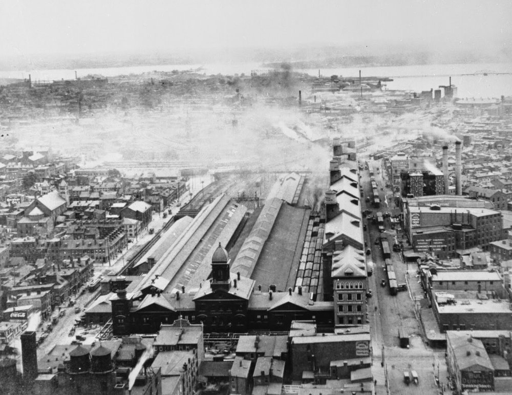 Camden Station, picture taken from Bromo Seltzer Tower. Baltimore, Maryland Date: 1911. Source: Unknown.