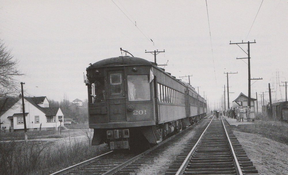 "Baltimore & Annapolis Car #201 at Rosemont Station. Rosemont Station, Maryland Date: January 1950.  Source: ""Baltimore Light Rail, Then & Now"" by Herbert H. Harwood Jr."