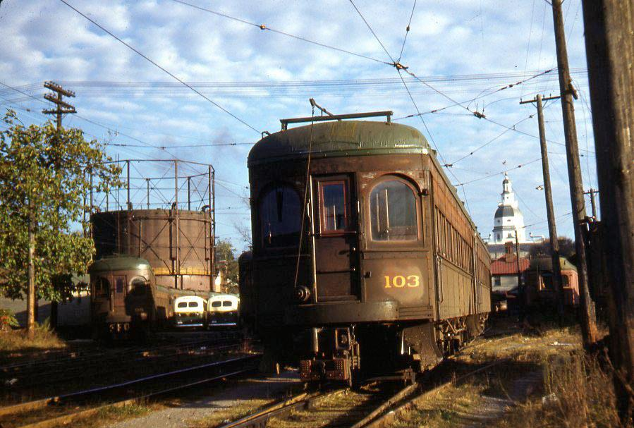 Baltimore & Annapolis Railroad Car #103 and 98 at Bladen Street Station. Annapolis, Maryland Date: 1940s. Source: Lee Rogers Collection.