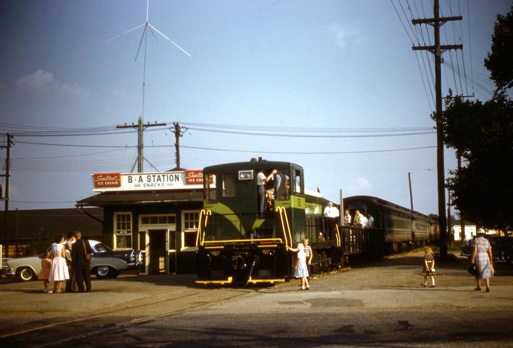 Baltimore & Annapolis Railroad, Glen Burnie Station. Glen Burnie, Maryland Date: September 24, 1961. Source: Robert Riley, Maryland Rail Heritage Library Collection.