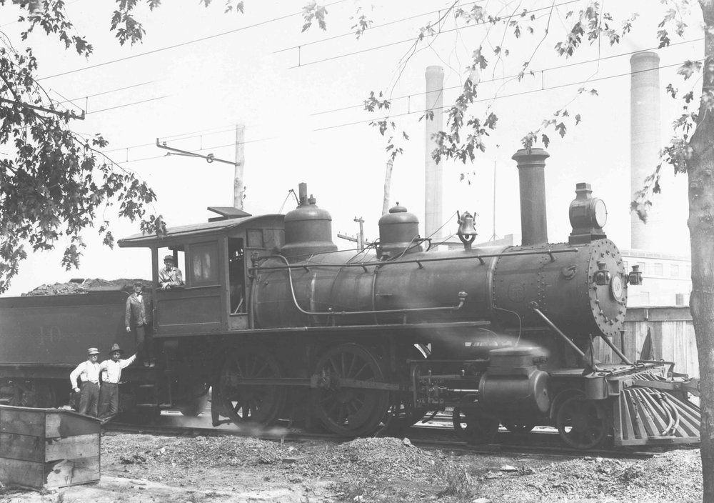 Baltimore & Annapolis Short Line Steam Engine #10, just after electrification and before the retirement of steam. Date: Circa 1908. Source: Unknown.