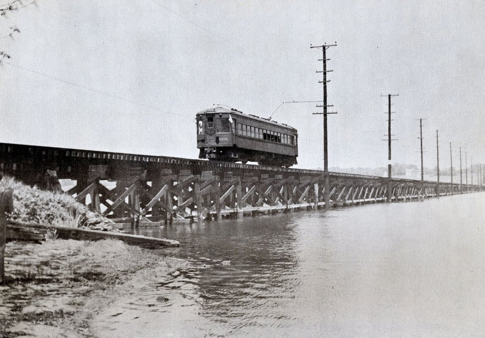 Baltimore & Annapolis Railroad Car #205 crossing the Severn River Bridge. Annapolis, Maryland Date: May 11, 1947. Source: R.S. Crockett Collection.