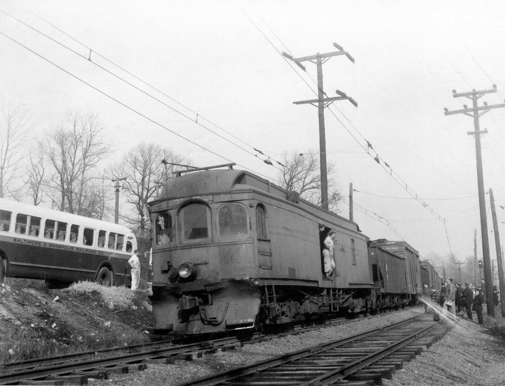 Baltimore & Annapolis Railroad Freight Car #18 at Linthicum Station. Date: 1940s. Source: Lee Rogers Collection.