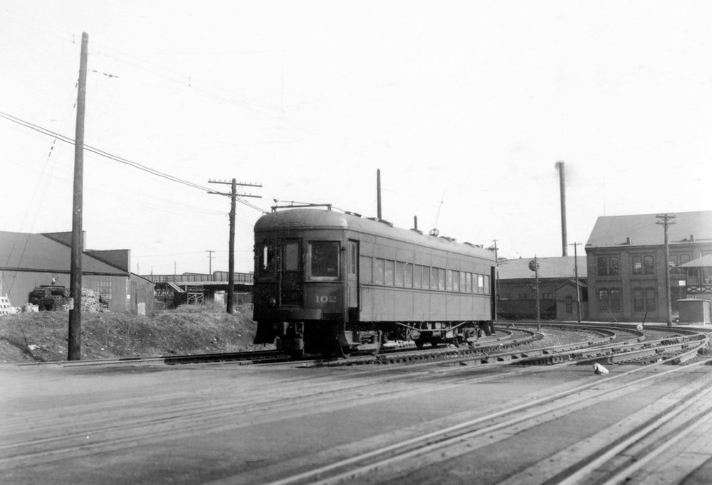 Baltimore & Annapolis Railroad Car #102 leaving Camden Station. Baltimore, Maryland Date: 1940s. Source: Lee Rogers Collection.