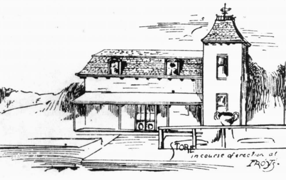 "Earleigh Heights Station & Store (Frost's Store). Date: 1889. Source: Sketch from ""Anne Arundel Homes Along the Short Line"", published by the Annapolis and Baltimore Short Line."