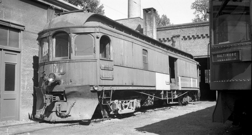 Baltimore & Annapolis Railroad Freight Motor at Bladen Street Station. Annapolis, Maryland Date: 1940s. Source: Lee Rogers Collection.