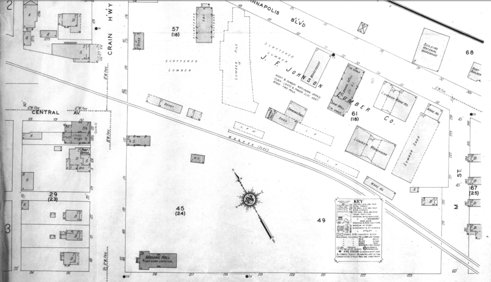 Baltimore & Annapolis Railroad, Map of Glen Burnie Station. Glen Burnie, Maryland Date: Unknown. Source: Unknown.
