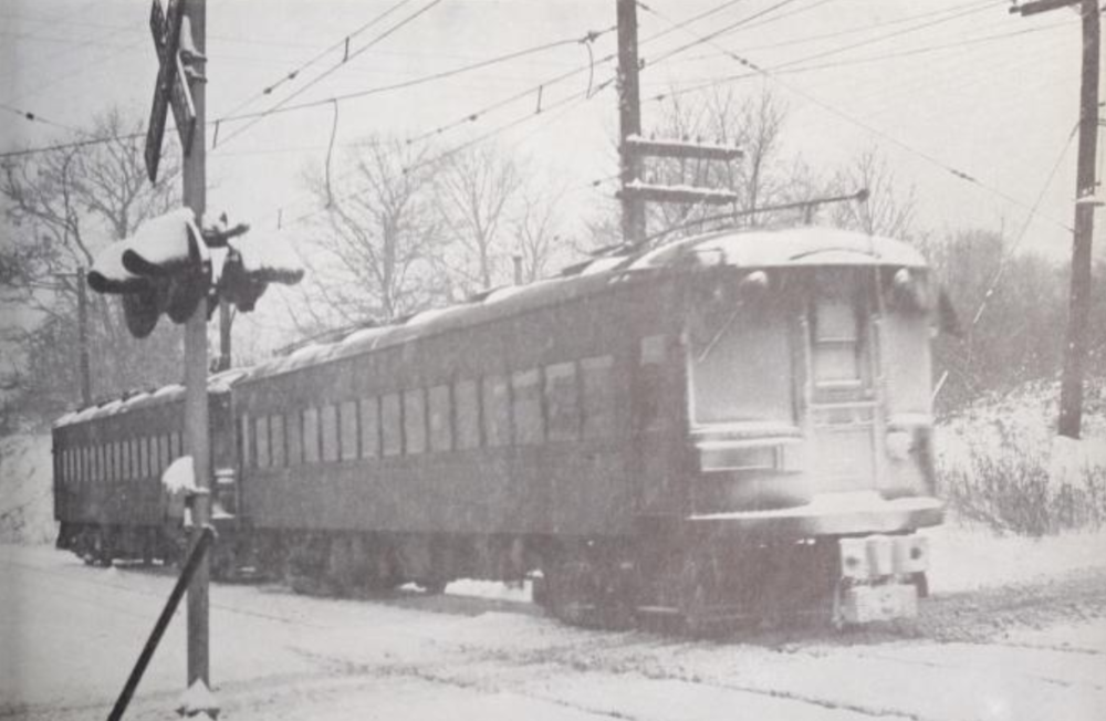 Baltimore & Annapolis Railroad Car traveling through Linthicum. Date: December 1948. Source: Edward J. Melanson Collection.