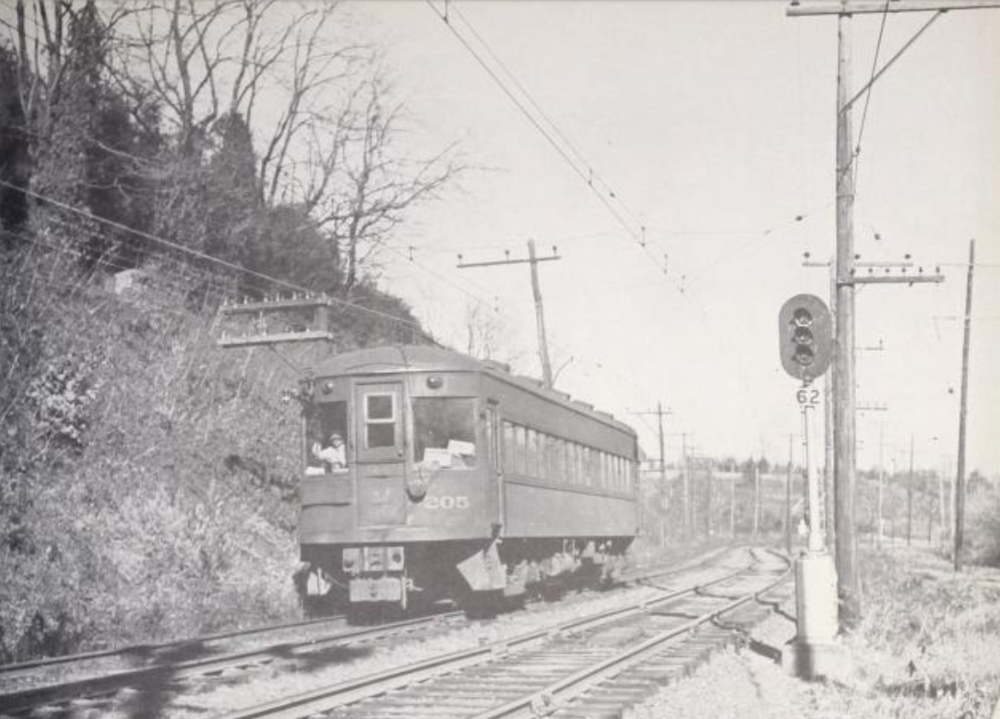 Baltimore & Annapolis Railroad Car #205 approaching the Linthicum Station. Date: 1949. Source: William D. Middleton Collection.