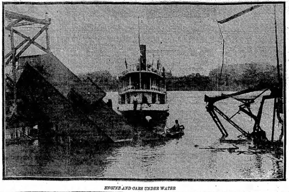 Baltimore & Annapolis Railroad Cars and Engine in the Severn River. Severn River Bridge Accident. Date: June 24, 1913. Source: Baltimore Sun, June 25, 1913.