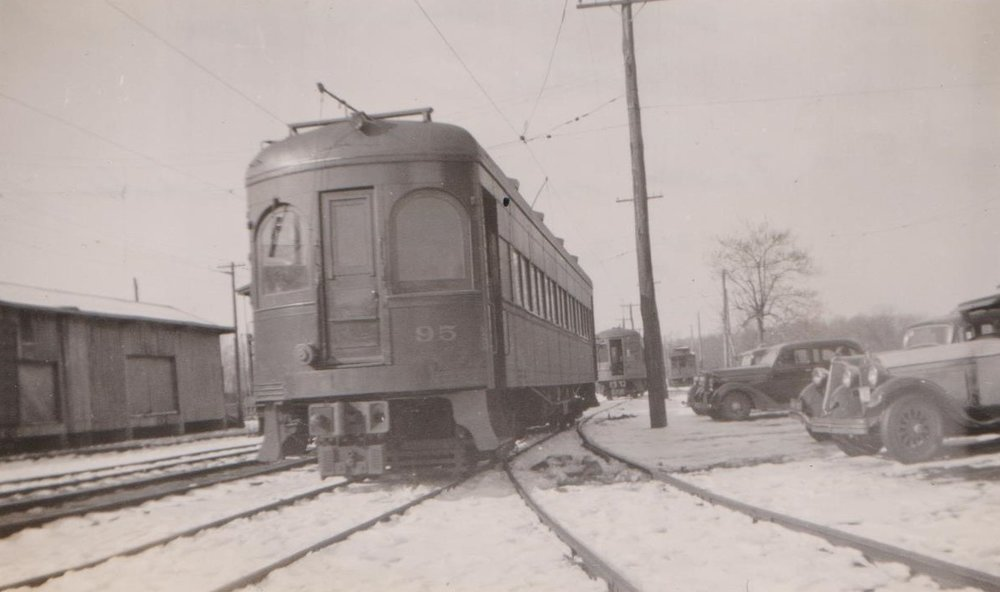 Baltimore & Annapolis Railroad Car at Bladen Street Station. Annapolis, Maryland. Date: January 1934. Source: Hugh Hayes Collection.