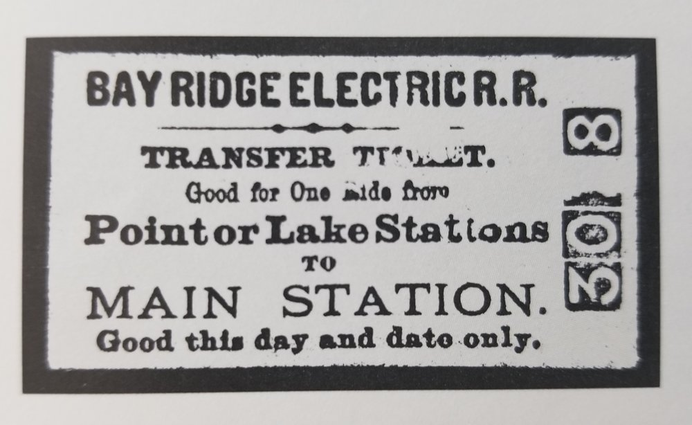 Bay Ridge Electric Railway Ticket. Date: Unknown. Source: Bay Ridge on the Chesapeake by Jane Wilson McWilliams & Carol Cushard Patterson.