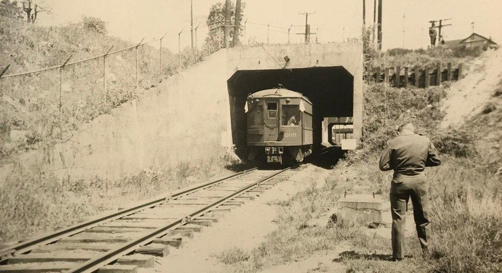 Baltimore & Annapolis Railroad Car passing through the Westport Tunnel. Date: Unknown. Source: Hugh Hayes Collection.