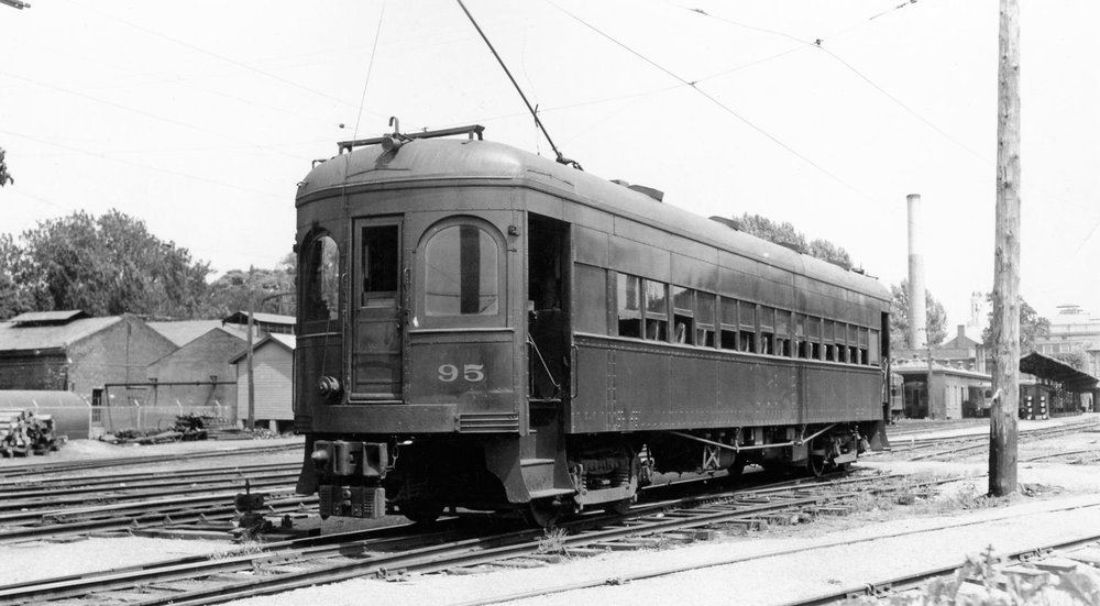 Baltimore & Annapolis Railroad Car #95 at Bladen Street Station. Annapolis, Maryland Date: 1940s. Source: Lee Rogers Collection.