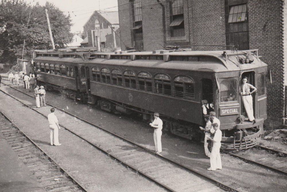 Washington, Baltimore & Annapolis Railroad Cars at West Street Station. Annapolis, Maryland Date: Unknown. Source: Hugh Hayes Collection.