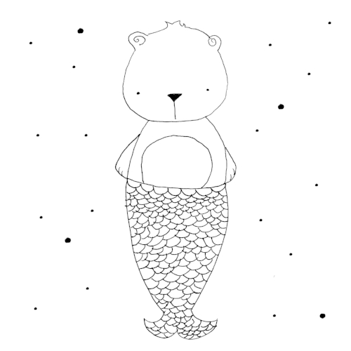 hand-drawn illustration bear mermaid black and white whimsical