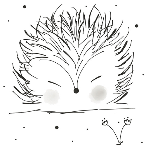 hedgehog illustration blanc and white whimsical
