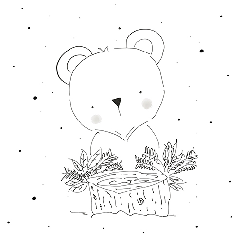 Koala bear Illustration, black and white, whimsical