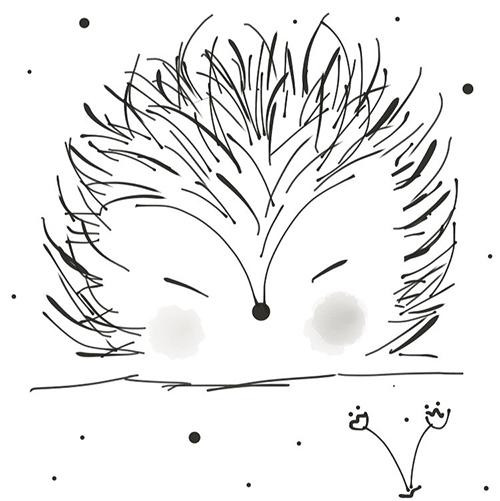 hand drawn sleepy hedgehog illustration