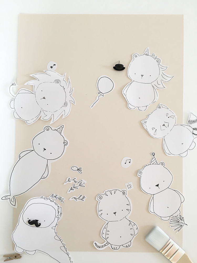 creative doodles characters in black and white