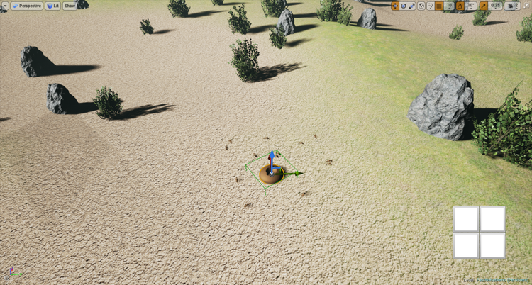 Ant Game: Screenshot from the alpha game, with the move function in the Unreal Engine.