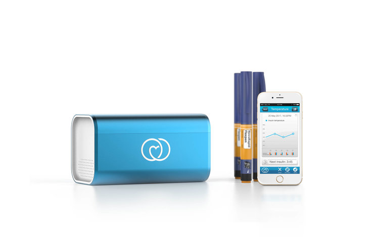 LifeinaBox pairs with an Application to help manage the medicine it keeps cold.