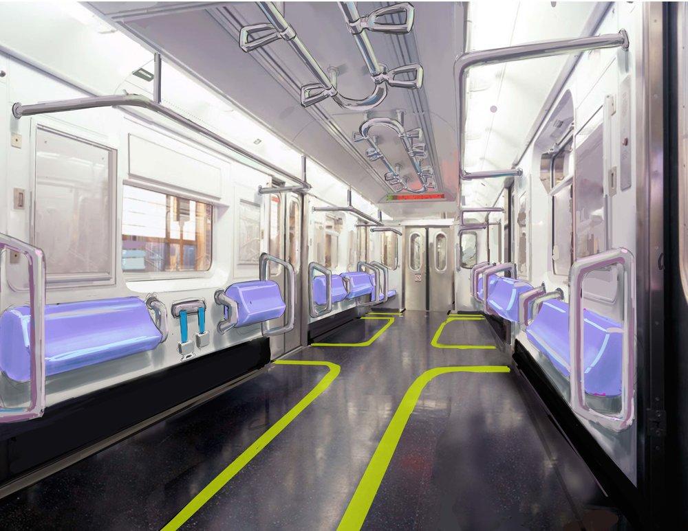Train Car Design, Mixed Media Rendering
