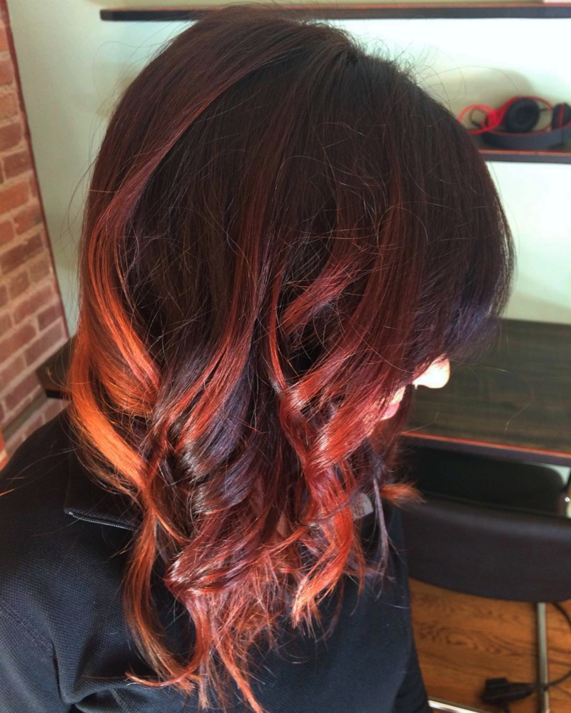 Hillary Loves Hair Salon Asheville NC hair color balayage with fire tips hair color service