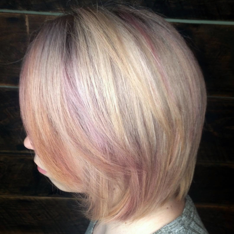Hillary Loves Hair Salon Asheville NC Hair color cut bob with cool rose highlights Hillary Small
