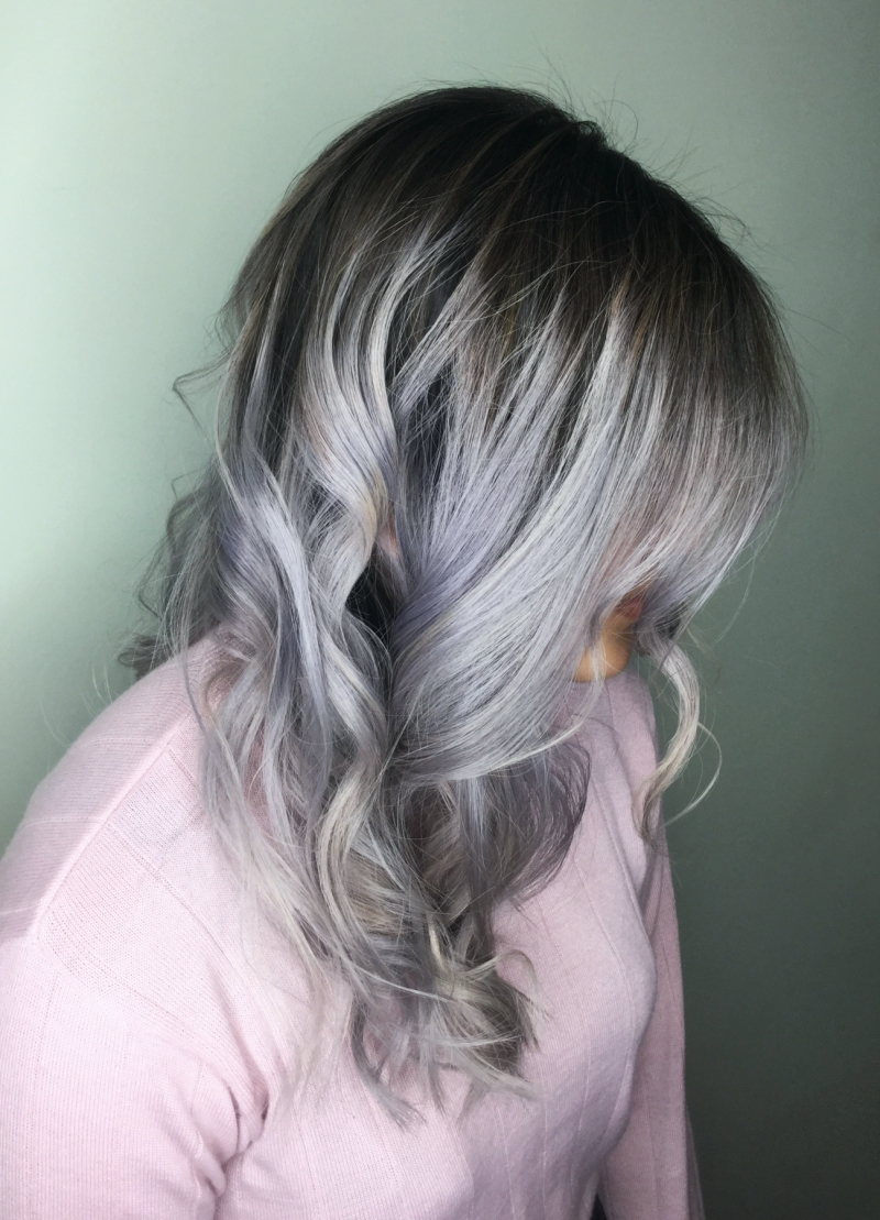 Hillary Loves Hair Salon Asheville NC guy tang #mydentity silver smoke mydentity hair color product Hillary Small