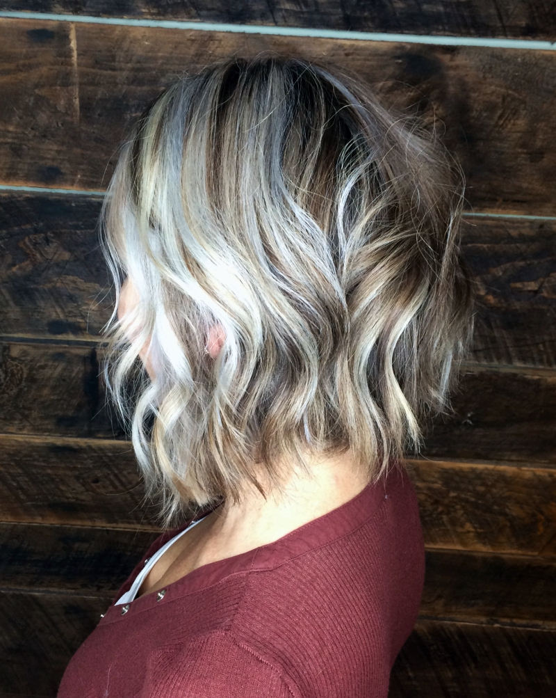 Hillary Loves Hair Salon Asheville NC hair color cut and style silver blonde textured bob