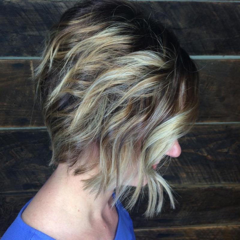 Hillary Loves Hair Salon Asheville NC Hair Color, Cut and Style textured bob with babylights Hair Stylisyt