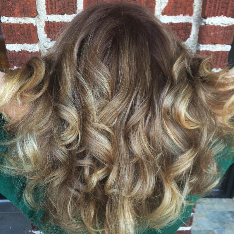 Hillary Loves Hair Salon Asheville NC Hair Cut Style beautiful soft waves of golden locks hair