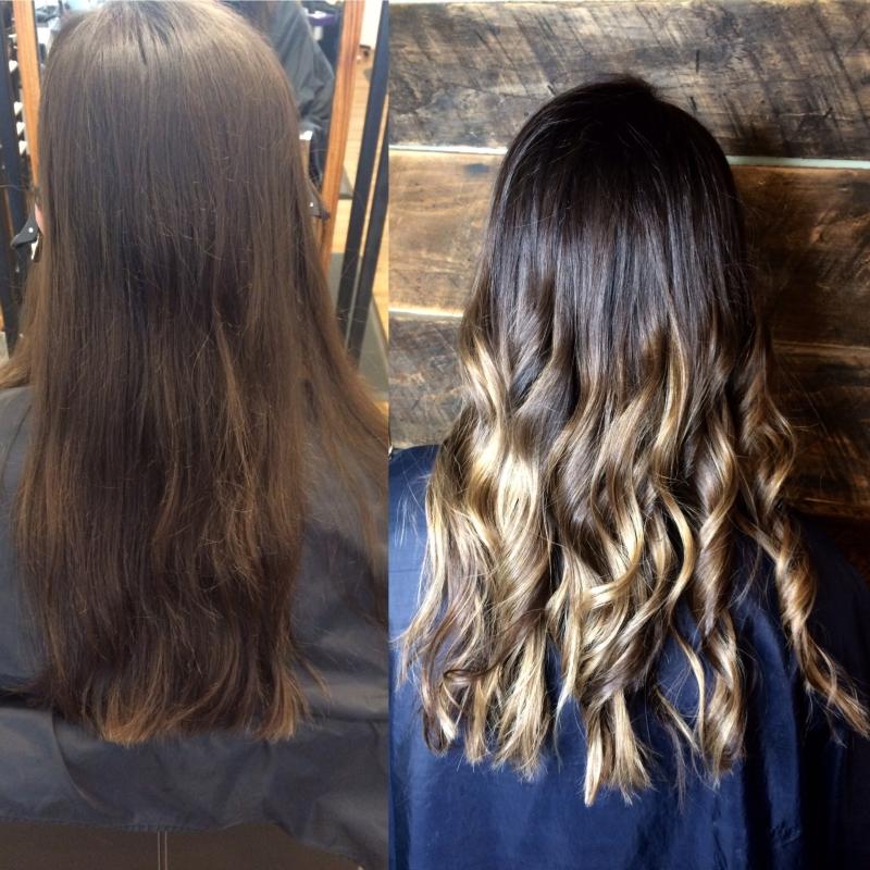 Hillary Loves Hair Salon Asheville NC sombre' using foilyage technique hair color Hair Stylisyt