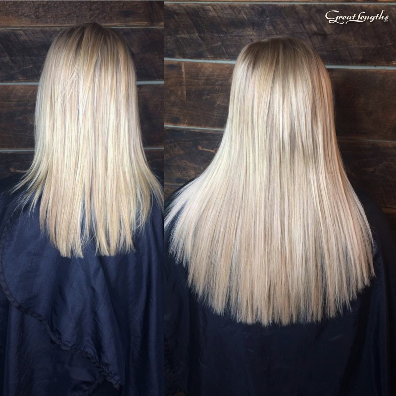 "Hillary Loves Hair Salon Asheville NC Great Lengths hair extensions adding 14"" length Hillary Small"