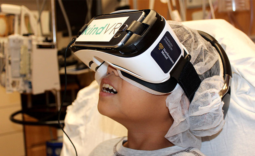 KindVR Look Up - KindVR Look Up has been custom developed for procedures such as mediport access.  It encourages the patient to to look up and keep their torso still, allowing for an easy and safe procedure. Image from Children's Hospital of Wisconsin via Northwestern Mutual.