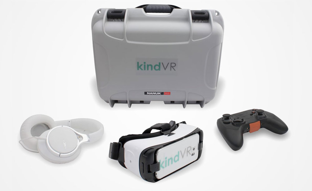 Complete Hardware Solution - KindVR provides a complete kit for hospital staff, including VR goggles, phone, headphones, controller, instruction manual, How-to-Play patient guide, and storage kit.